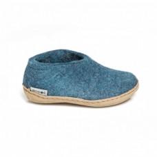 Glerups Shoe: halbhoher Hausschuh aus Wollfilz mit Ledersohle für Kinder - petrol
