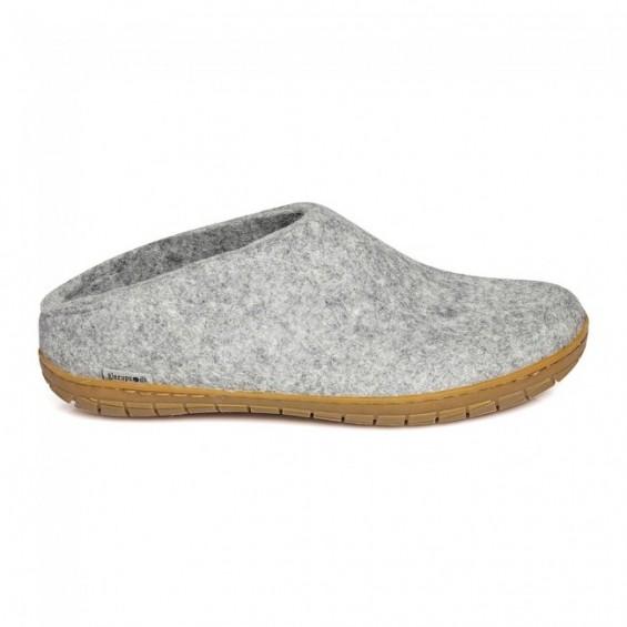 Glerups Open Heel: Slipper-Hausschuh aus Wollfilz mit Gummi-Sohle - grau