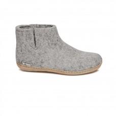 Glerups Low Boot: Stiefel-Hausschuh aus Wollfilz mit Ledersohle - grau