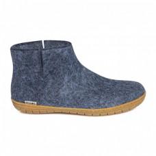 Glerups Low Boot: Stiefel-Hausschuh aus Wollfilz mit Gummisohle - denim