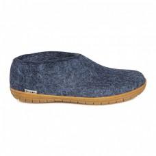 Glerups Shoe: halbhoher Hausschuh aus Wollfilz mit Gummi-Sohle - denim