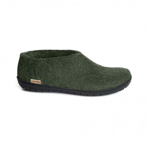 Glerups Shoe: halbhoher Hausschuh aus Wollfilz mit Gummi-Sohle - forest-grün