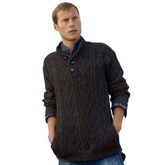 West End Knitwear - Herren-Troyer aus Merinowolle mit Knöpfen