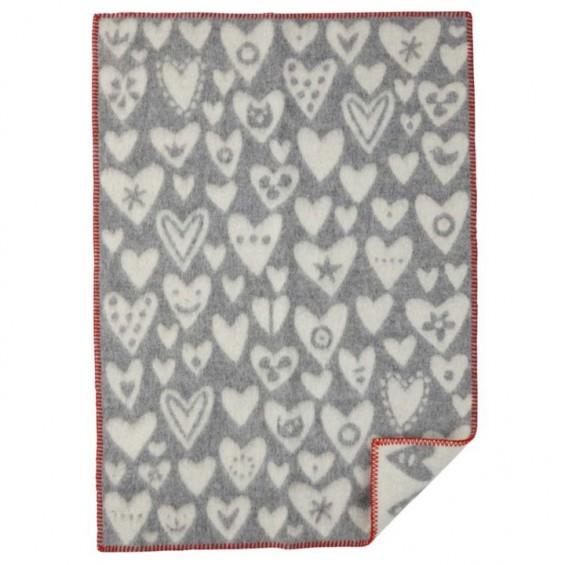 Klippan Baby Heart Kinderwolldecke mit Herzchen-Motiv Öko-Tex