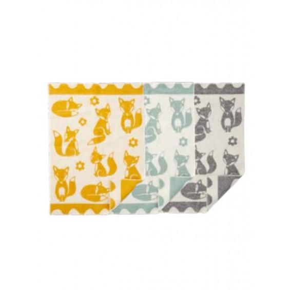 Klippan Fox Kinderwolldecke mit Fuchs-Motiv Öko-Tex