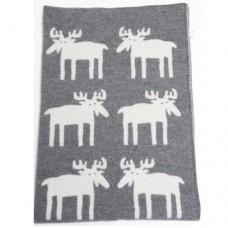 Klippan Moose Kinder-Wolldecke Öko-Tex mit Elch-Motiv