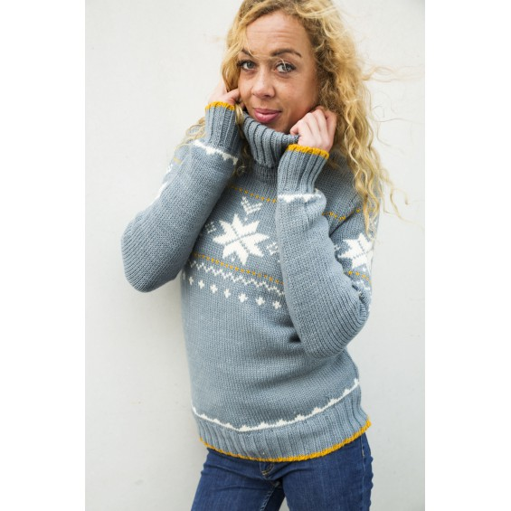 FUZAWOOL L Freya sweater Misty - Damen-Strickpullover