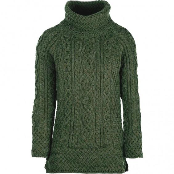 Aran Woollen Mills - langer Rollkragen-Pullover mit seitlichen Schlitzen