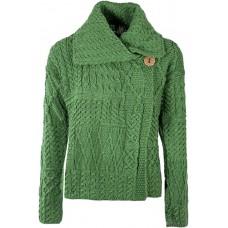 Aran Woollen Mills - Damen-Strickjacke mit großem Kragen aus Merinowolle