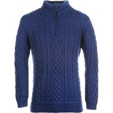 Aran Woollen Mills - weicher Herren-Pullover aus Merinowolle mit kurzem Reißverschluss
