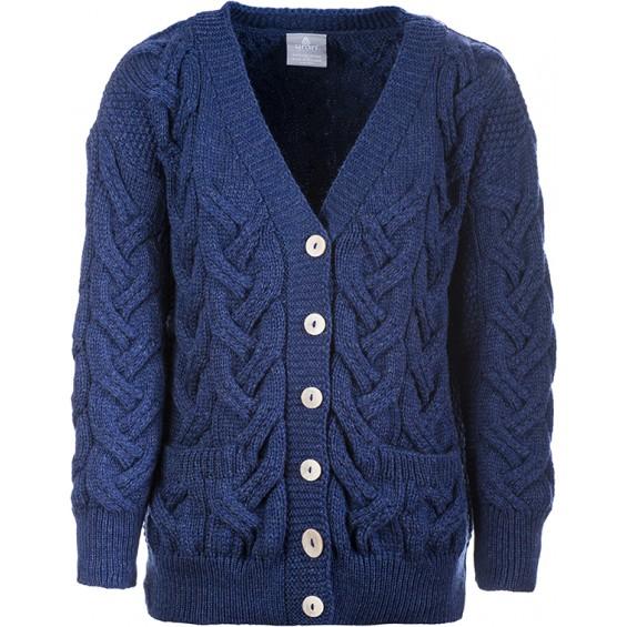 Aran Woollen Mills - Damen-Strickjacke mit V-Ausschnitt und Knöpfen