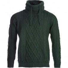 Aran Woollen Mills - Herren-Pullover mit Kragen und Kordel