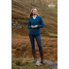 Aran Woollen Mills - Damen-Strickpullover mit V-Ausschnitt