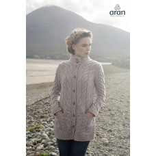 Aran Woollen Mills - Damen-Strickjacke aus Supersoft Merinowolle mit Knöpfen und Taschen