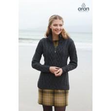 Aran Woollen Mills - taillierte Strickjacke mit Reißverschluss anthrazit