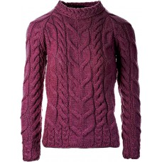 Aran Woollen Mills - Damen-Strickpullover mit rundem Hals aus Supersoft-Merinowolle