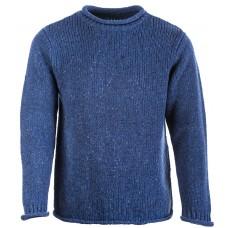 Aran Woollen Mills - Herren-Pullover mit kurzem Kragen und aufgerollten Bündchen
