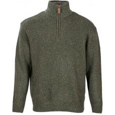 Aran Woollen Mills - melierter Herren-Pullover aus Lammwolle mit kurzem Reißverschluss