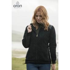 Aran Woollen Mills - robuste Damen-Strickjacke mit Reißverschluss und einem Baumwollfutter