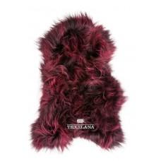 Isländer-Schaffell - in Bordeaux-Rot gefärbt, langhaarig