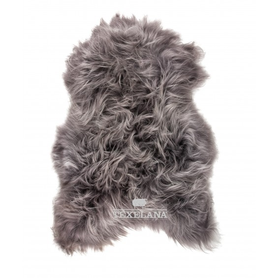 Isländer-Schaffell - in Grau gefärbt, langhaarig