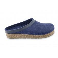 Haflinger Grizzly Torben: Slipper-Hausschuh mit fester Sohle und Fußbett - blau