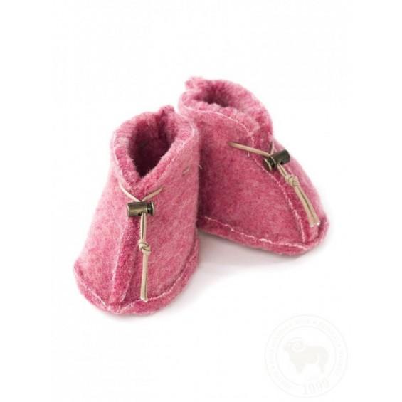 Weicher Babypantoffel aus Schafschurwolle in 4 Farben