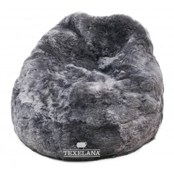 Sitzsack aus Schaffell - grau gefärbt