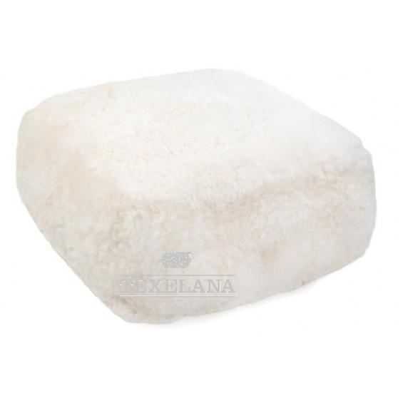 Viereckiges Pouf Sitzkissen aus Schaffell - weiß