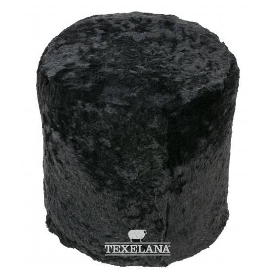 Säulenförmiges Pouf Sitzkissen aus Schaffell - schwarz