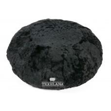 Pouf Boden-Sitzkissen aus Schaffell - schwarz