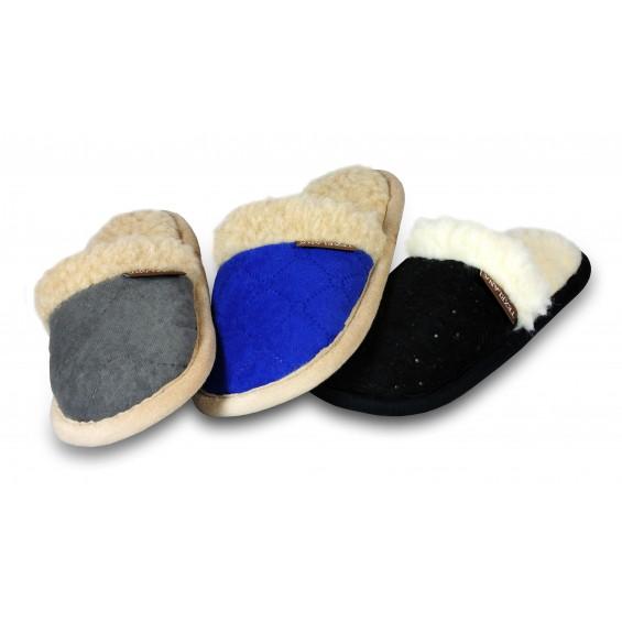 Mila: weicher Slipper-Pantoffel gefüttert mit Schafwolle - grau/beige