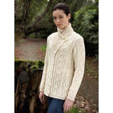 West End Knitwear - Damen-Strickjacke mit schräg verlaufenden Knöpfen