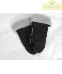 Fausthandschuhe aus Schafsfell  Dunkelbraun (solange der Vorrat hält)